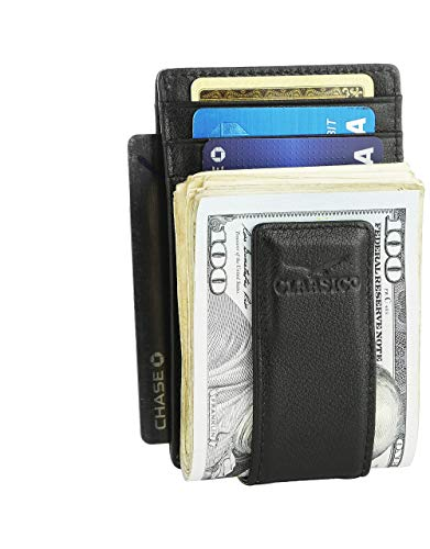 Money Clip Leather Wallet For Men Slim Front Pocket RFID Blocking Card Holder With Super Strong Magnetic (Black) (Classic Money Clip)