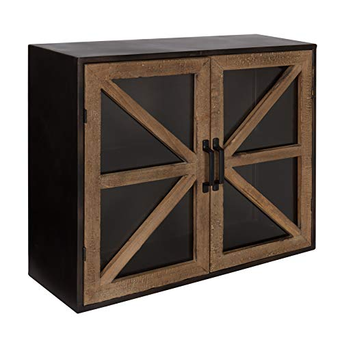 Wall Storage Cabinet Black - Kate and Laurel Mace Farmhouse Rustic Wood and Metal Wall Mounted Double Door Storage Cabinet