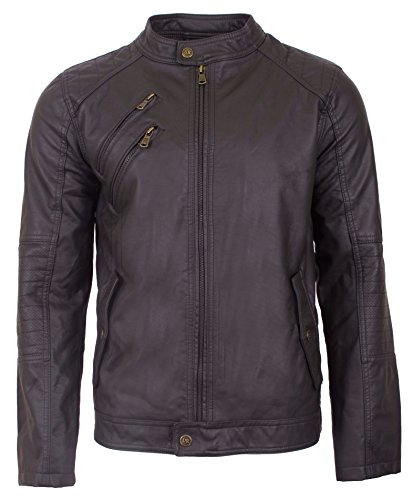 Urban Republic Men's Faux Leather Moto Jacket, Small, Brown
