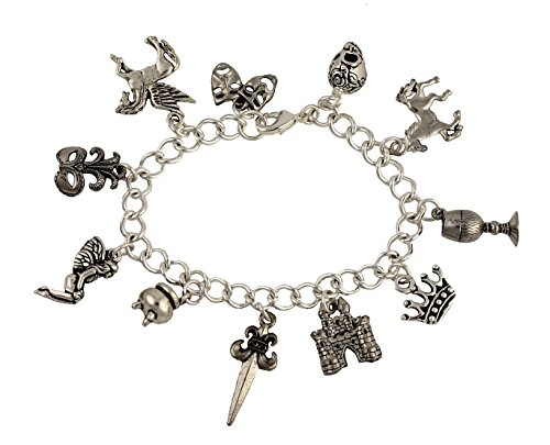 - Night Owl Jewelry Shakespeare Charm Bracelet- Pewter Charms, Silver Plated Chain- Bard, Theatre, Drama - Size S (7 Inches (Small))