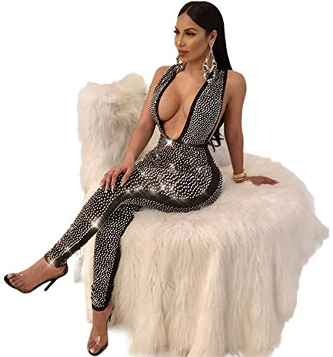 Sedrinuo Women Deep V Neck Sequin Rhinestone Jumpsuit Sleeveless Clubwear Party One Piece Romper Black 4/6