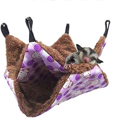 Warm Hammock for Small Animal Parrot Sugar Glider ferret Squirrel Hamster Rat Playing Sleeping Bunkbed Sugar Glider Hammock Guinea Pig Cage Accessories Bedding Pet Cage Hammock Hanging Bed-