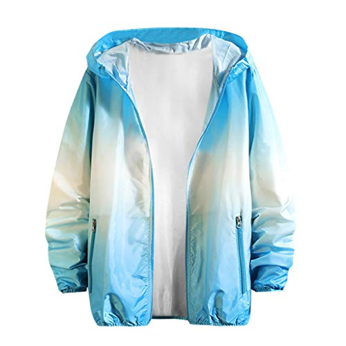 (YEZIJIN 2019 New Women Men Couples Printing Long Sleeve Sunscreen Hooded Sweatshirt Pullover Tops Sky Blue)