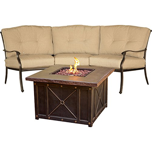 Hanover Traditions 2-Piece Chat Set with Durastone Fire Pit Durastone/Tan TRADDURA2PCFP