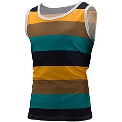 Blouse, Han Shi Mens Fashion Stripe Tank Vests Sleeveless Gym Sports Shirt Waistcoat (XXL, Green)