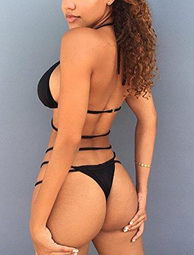 Chicolife Womens Two Piece Bandage Push Up Traje de baño Sexy Thong Bikini Set Bañador Black