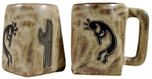 - Set Of Two (2) MARA STONEWARE COLLECTION - 12 Oz Coffee Cup Collectible Square Mugs - Native American Kokopelli