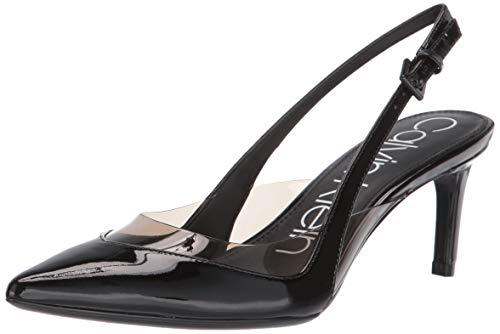 Patent Sling Pump - Calvin Klein Women's Rache Pump, Black Patent/Lucite, 10 M US