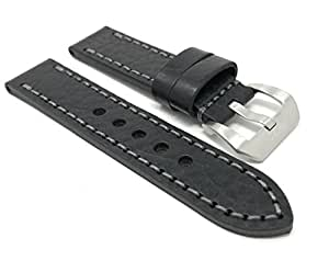 Black Leather Smartwatch Band Strap 22mm, Thick Strap, Large Buckle