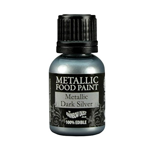 Food Dust (Rainbow Dust Metallic Dark Silver Edible Food Paint 25ml)
