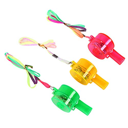 6pcs Colorful Flashing Whistle LED Light Up Fun In the Dark Party Rave and Concert (Random Color)