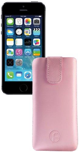 Apple iPhone 5S / Original Favory Etui Tasche Leder Etui Handytasche Ledertasche Schutzhülle Case Hülle Lasche mit Rückzugfunktion* In ROSA