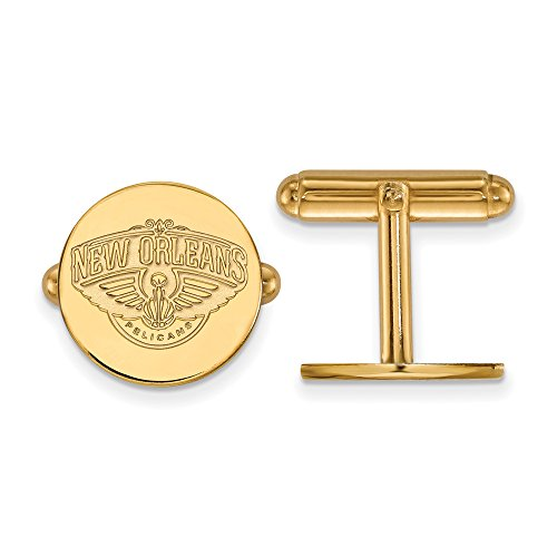 NBA New Orleans Pelicans Cuff Links in 14K Yellow Gold by LogoArt