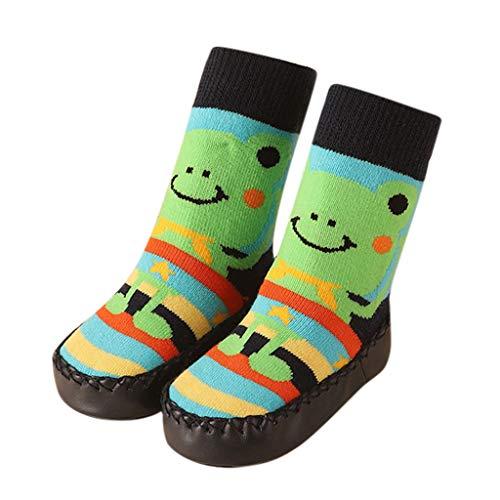 es Infant Baby Lovely Cartoon Anti-Slip Floor Socks Boots Toddler Slippers Infant Winter Warm Socks Shoes Mint Green ()