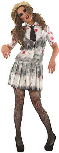 Ladies Zombie Dead Corpse Halloween School Girl Fancy Dress Costume Outfit 8-22 Plus Size (UK 16-18) White ()