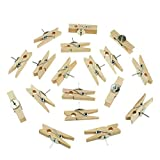 100 Pcs Push Pin with Wooden Clips Pushpins Tacks Thumbtacks for Cork Boards Bulletin Boards Artwork Notes Photos, Great Craft and Office Organization