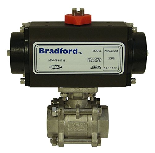 Dixon BV2IG-20011-BCC Stainless Steel 316 Pneumatically Actuated Double Acting Ball Valve, Three Piece, 2