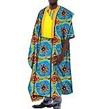 Vska Men's Dashiki Africa Cotton Batik Longline Stylish Top T Shirts 5 3XL