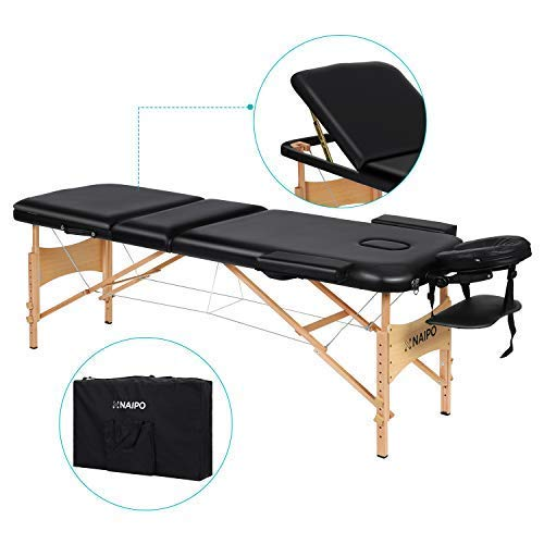 Naipo Portable Massage Table Professional Adjustable Folding Bed with 3 Sections Wooden Frame Ergonomic Headrest and Carrying Bag for Therapy Tattoo Salon Spa Facial Treatment ()