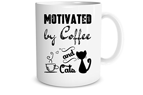 Price comparison product image Funny Mug - Motivated by Coffee and Cats - 11 OZ Coffee Mugs - Best Office & Birthday Gifts For Cat Lovers,  Mom,  Dad,  Son,  Daughter,  Friends - CrazWear Mugs