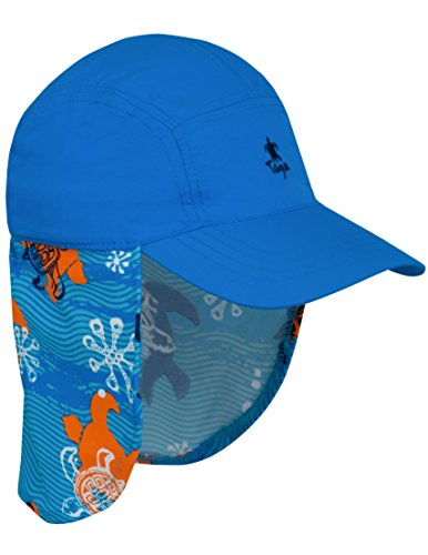 Tuga Boys Flap Sun Hat (UPF 50+), Blue Roller, Large