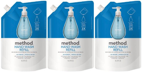 - Method Gel Hand Wash Refill Pouch, Sea Minerals, 34oz, 3pk