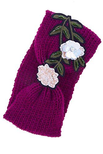 Costume Estate Jewelry Bracelet - TRENDY FASHION JEWELRY FLOWER PATCHED KNOT ACCENT KNITTED HEADBAND BY FASHION DESTINATION | (DARK PINK)