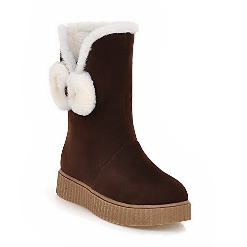 Balamasa Damesplatform Gesponnen Gouden Strik Frosted Boots Bruin