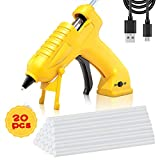 Cordless Hot Glue Gun AONOKOY USB Rechargeable Portable Mini Melt Glue Gun Kit with 20pcs Glue Sticks for DIY Crafts, School Projects and Fast Home Repairs