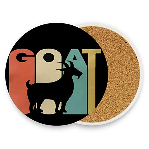 (Goat Silhouette Coasters, Protection for Granite, Glass, Soapstone, Sandstone, Marble, Stone Table - Perfect Cork Coasters,Round Cup Mat Pad for Home, Kitchen or Bar Set of 2)