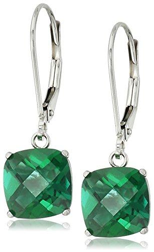 10k White Gold Cushion-Cut Checkerboard Created Emerald back Earrings (8mm)