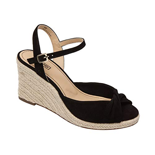 Pic & Pay VANNAH | Mid Height Wedge Espadrille with Knotted Upper Black Suede 7.5M