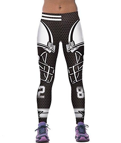 Abby Berny Womens 3D Digital Print Yoga Pants Rugby Player Leggings Skinny Tights,Black,Medium