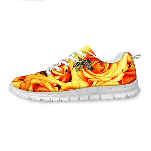 FOR Womens Vintage Print D Rose Walking Sneaker U Shoes Yellow Floral DESIGNS Fashion Comfortable Running frqWYgnr