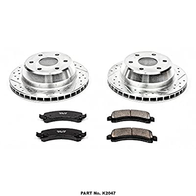 Power Stop K2047 Rear Brake Kit with Drilled/Slotted Brake Rotors and Z23 Evolution Ceramic Brake Pads: Automotive