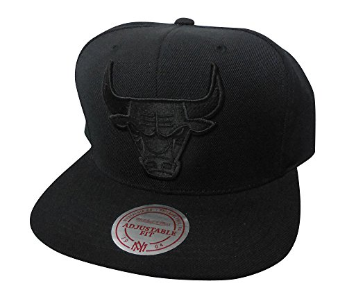 Mitchell & Ness Men's Black on Black Tonal Snapback Hat, Chicago Bulls, Black