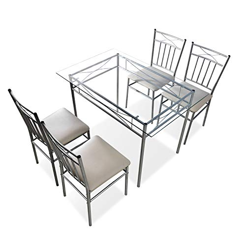 Dining Table Chairs Set of 5,Set 4 Person Home Kitchen Glass Top Table Set for Dining Room,4 Chairs (Silver)