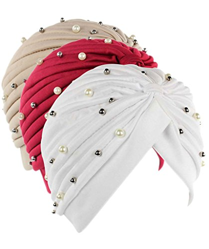 Firsthats Women's 3 Pack India Muslim Twist Pleated Hair Wrap Turban
