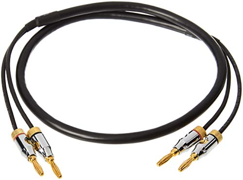 AmazonBasics Speaker Cable Wire with Gold-Plated Banana Tip Plugs - CL2 - 99.9% Oxygen Free - 3-Foot