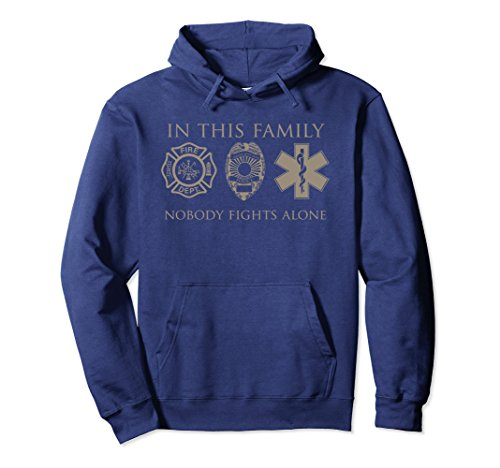 Firefighter Adult Hoody Sweatshirt (Unisex In This Emergency Family No One Fights Alone Hoodie Shirts XL: Navy)