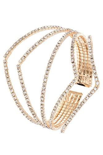 Trendy Fashion Jewelry Diamond Shape Rhinestone Pave Accent Flex Bracelet By Fashion Destination | (Gold/Clear) ()