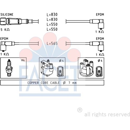Facet 4.7159 Ignition Leads Kit: