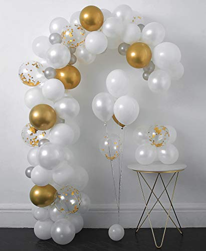 White and Gold Confetti Balloons Arch & Garland Kit 110 pcs 12in Latex Metallic Pearlescent Balloon with Decorating Strip+Tying Tools+Glue Dots+Flower Clips+Silver Ribbons for Wedding Decoration