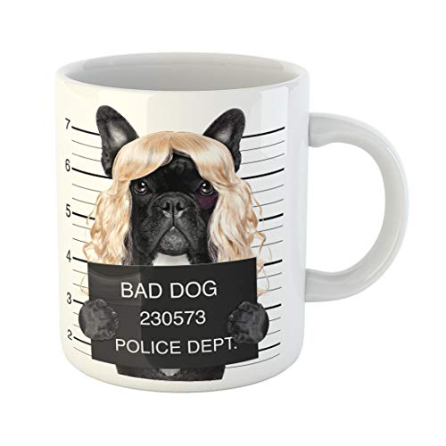 Semtomn Funny Coffee Mug Diva Lady Girl Dog Posing for Lovely Mugshot As 11 Oz Ceramic Coffee Mugs Tea Cup Best Gift Or Souvenir -