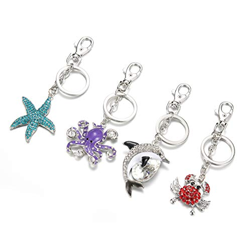 V-GROWING Ocean Style Rhinestone Keychains Perfect Present Gifts for Women Girls Christmas Handbag Dolphin/Starfish/Crab/Octopus/Set of ()