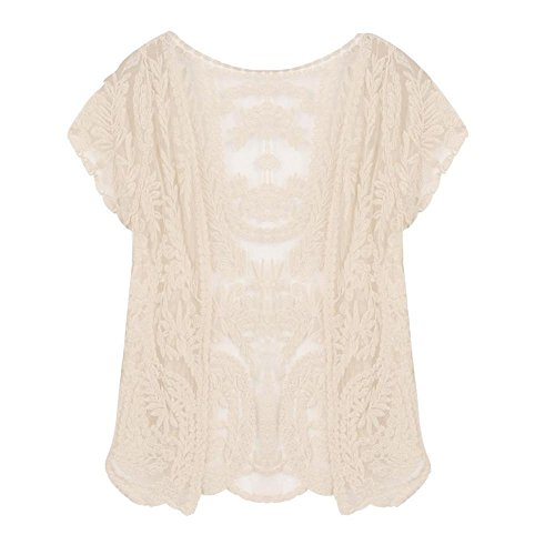 Bifast Casual Work Loose Vintage Lace Cardigan Sweater Batwing Sleeve Outfit, Beige, Free Size from Bifast