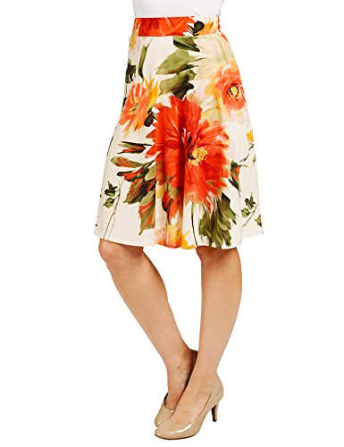 - Womens Print Knee Length Flare Skirt S CORAL_OLIVE