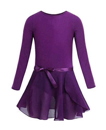 FEESHOW Girls Team Basic Long Sleeve Ballet Dance Tutu Dress Gymnastics Leotard Dancewear Outfit Dark Purple 2pcs set 3-4 (40 15 8 N 58 26 23 E)