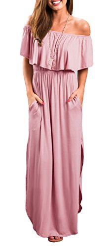 THANTH Womens Off The Shoulder Ruffle Party Dresses Side Split Beach Maxi Dress Pink S