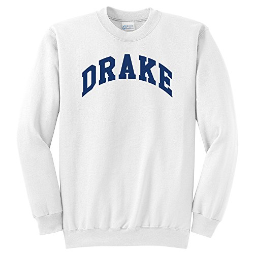Campus Merchandise NCAA Drake University Arch Classic Crewneck Sweatshirt, White, Medium